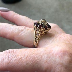 14K Gold Red Garnet Crown Ring